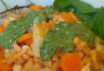 Winter vegetable stew with pesto
