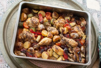 Baked chicken thighs with chorizo and orange