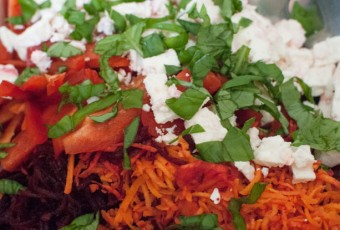 Colourful beetroot and carrot salad with feta