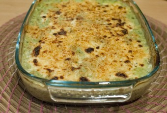 Surprising ham, chard and cauliflower gratin