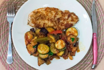Crispy fried chicken parmesan & herbs with homemade ratatouille