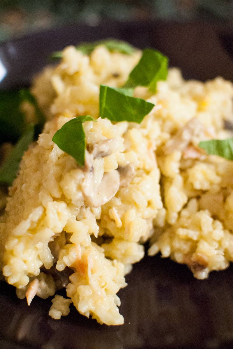 Mushroom and smoked salmon risotto with saffron