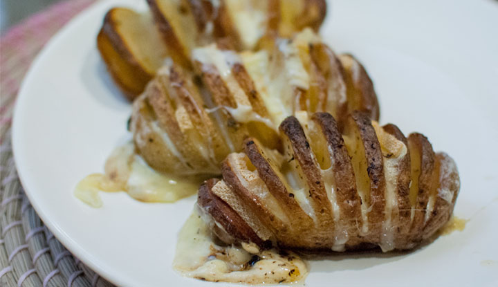 hasselback potatoes with raclette cheese val en