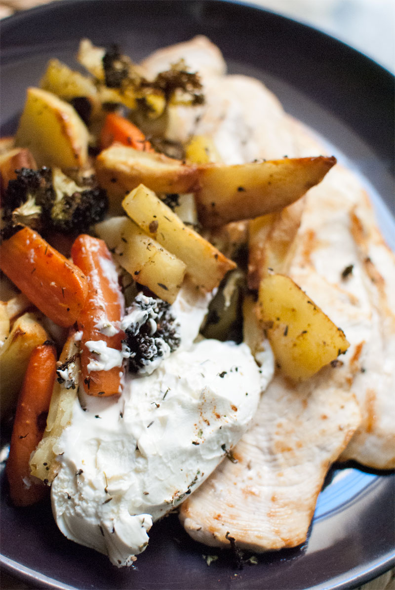 Roasted root vegetables with mascarpone