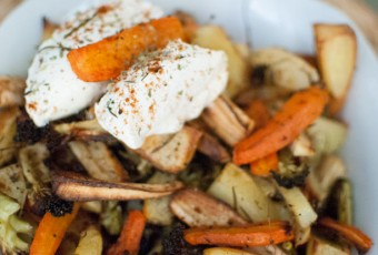 Verduras de raíz al horno con mascarpone