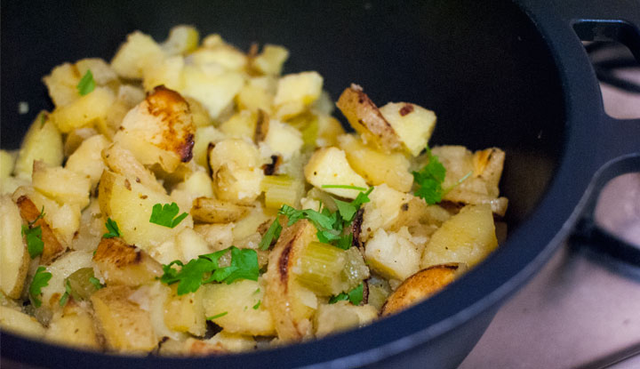 Potato and celery stir fry