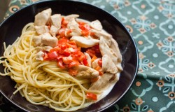Simple chicken and red pepper pasta