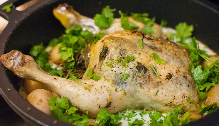 Coconut milk pot roast chicken