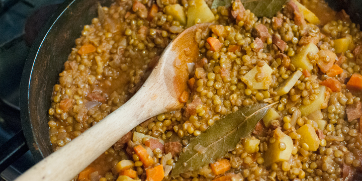Super Easy Spanish Lentil Stew with Chorizo