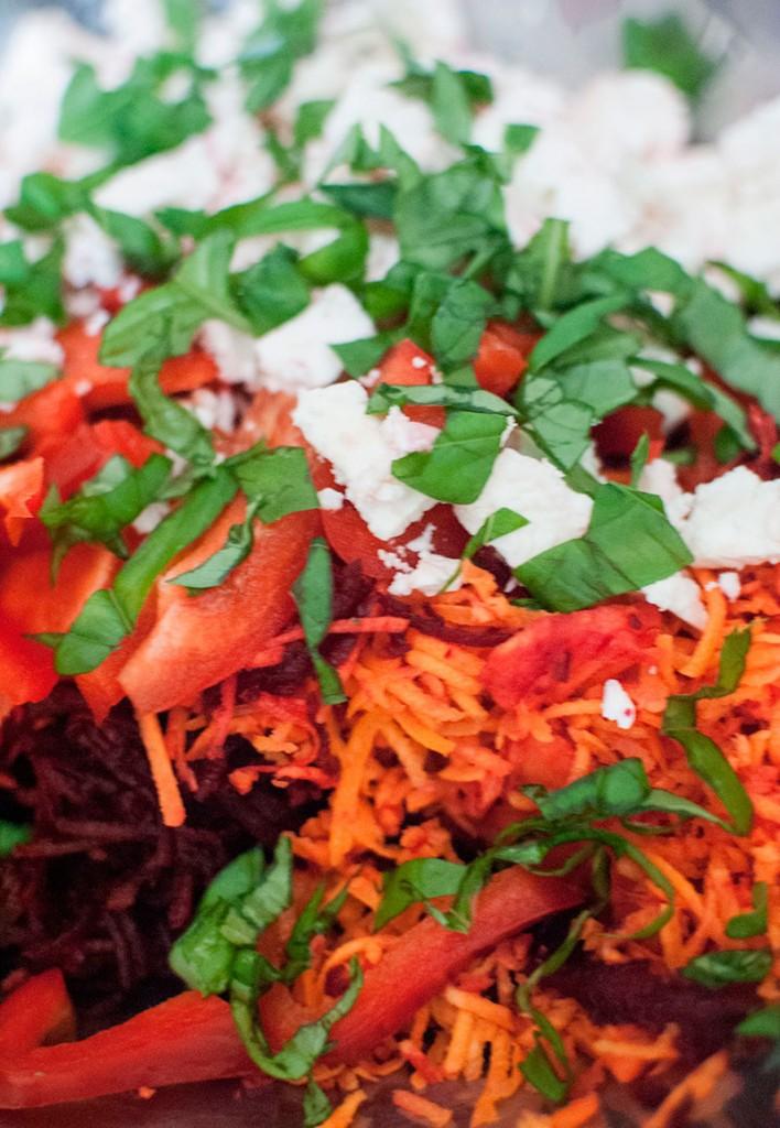 Colourful beetroot, carrot & feta salad