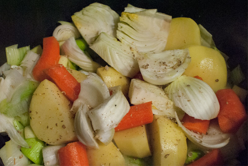 Sautéed vegetables soup with leek, potato and carrot