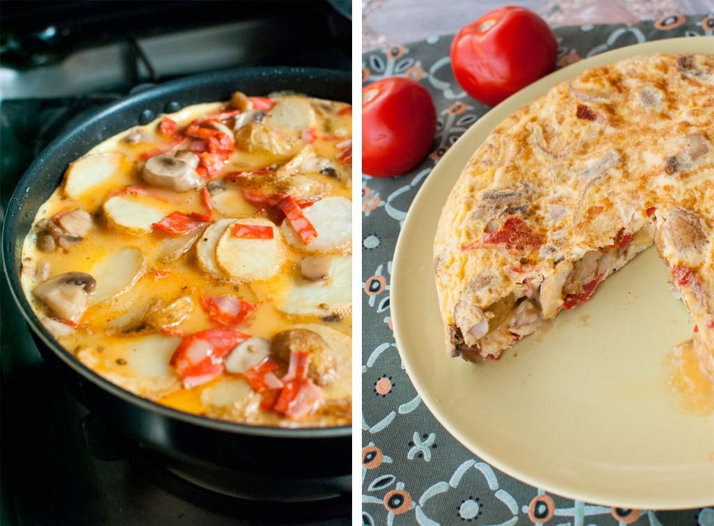 ortilla de patatas con chorizo & espinacas