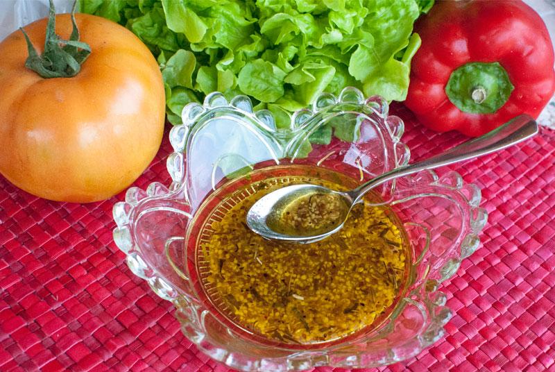 Vinagreta con miel, mostaza y estragón