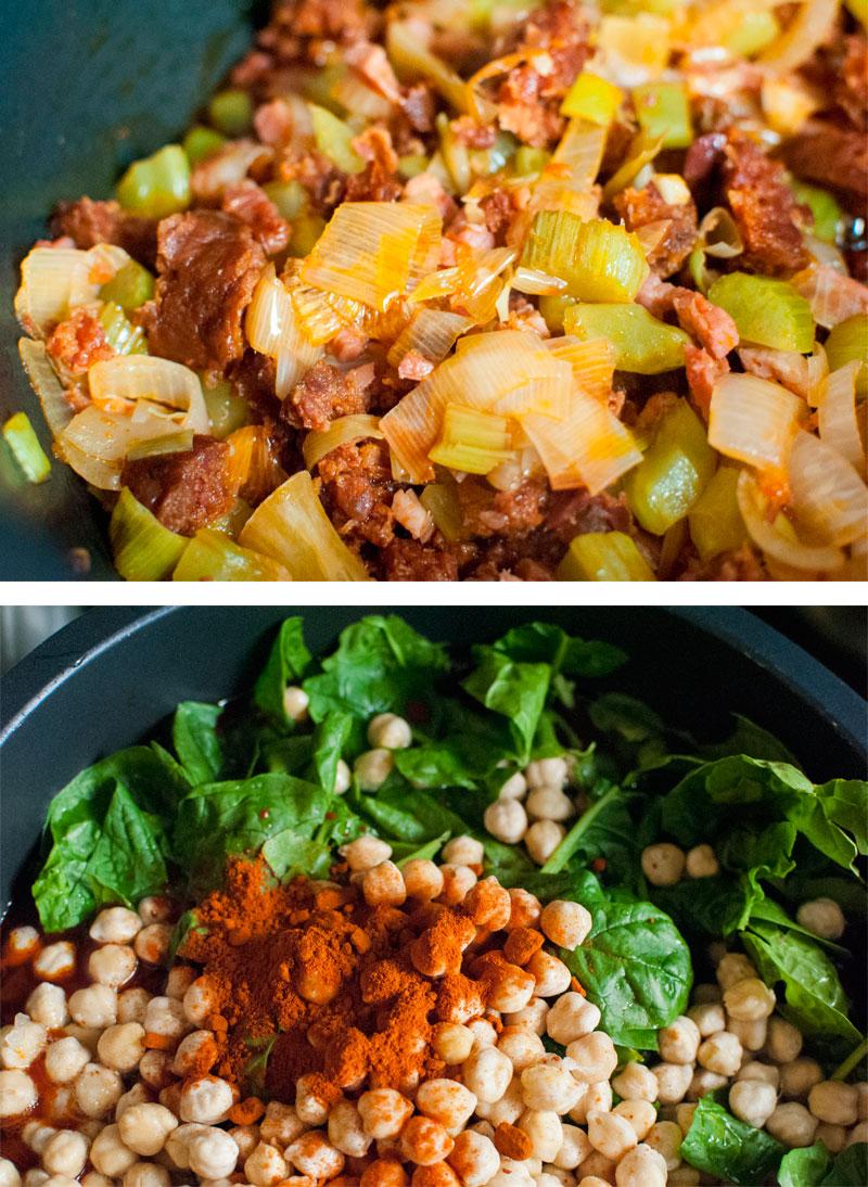 Spanish stew with chickpeas, chorizo and potatoes
