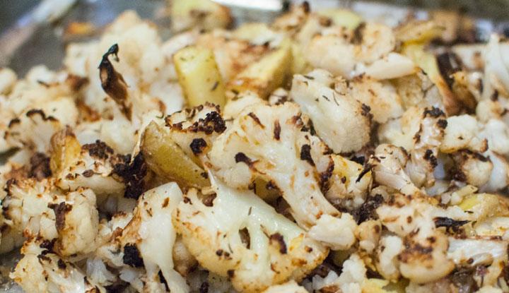 Coliflor al horno gratinado con parmesano