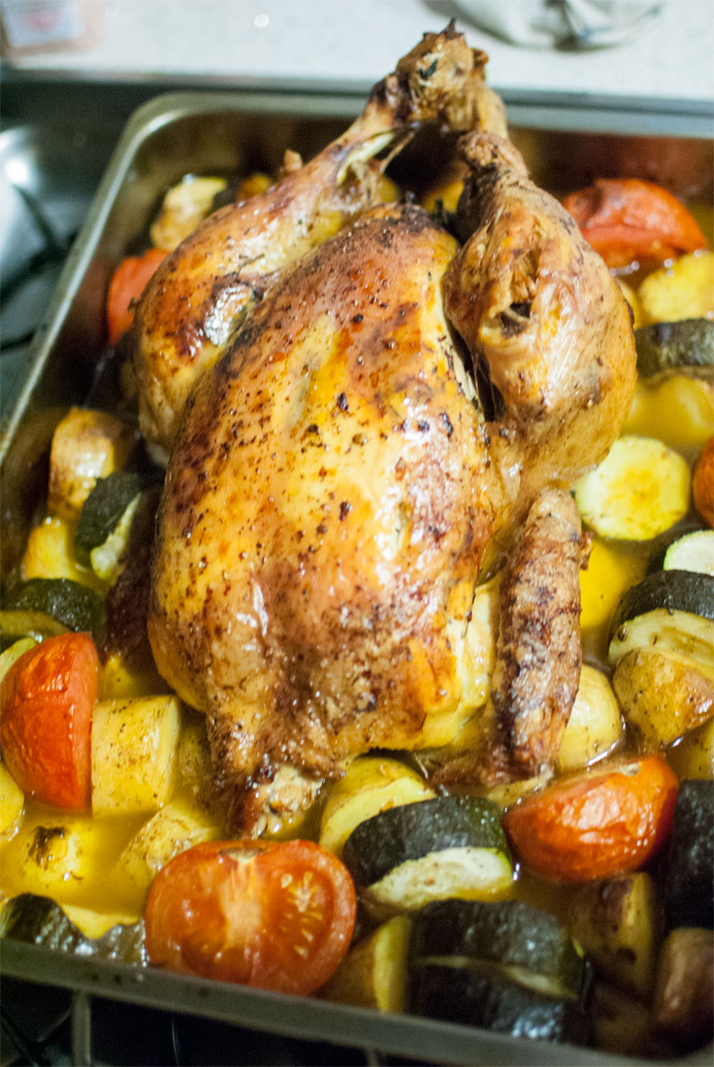 Roast chicken with Mediterranean vegetables