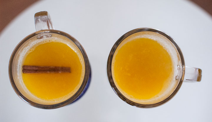 Hot Orange Juice with honey and cinnamon