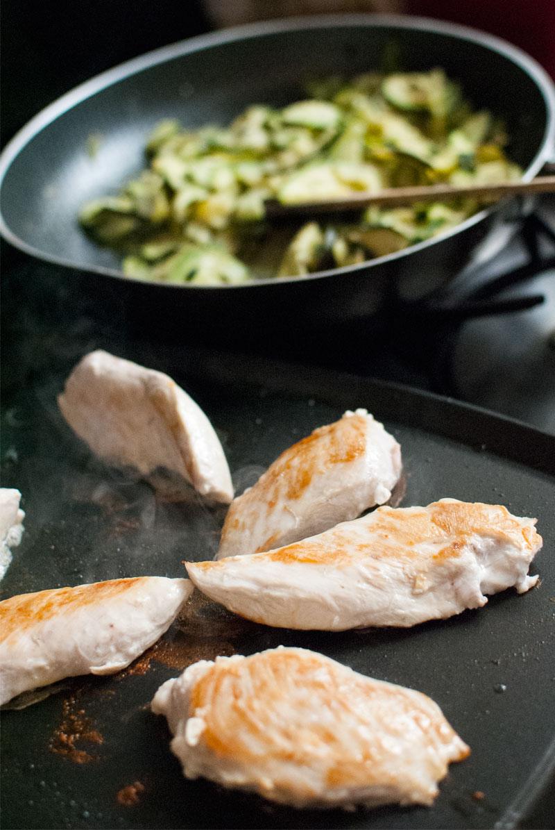 Calabacin con Nata y Lemon con pollo a la plancha