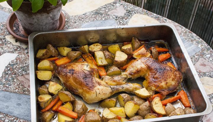 Pollo al horno con jarabe de arce