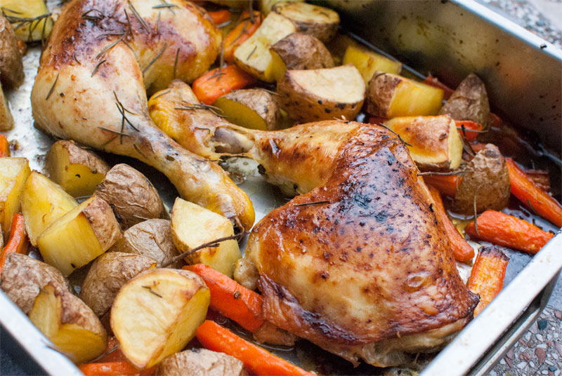 Roast maple chicken thighs