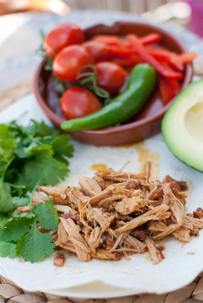 Mexican pork carnitas tacos