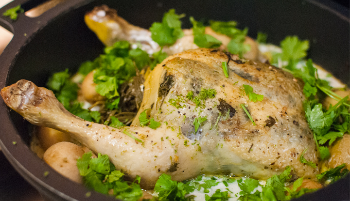 Coconut milk pot roast chicken